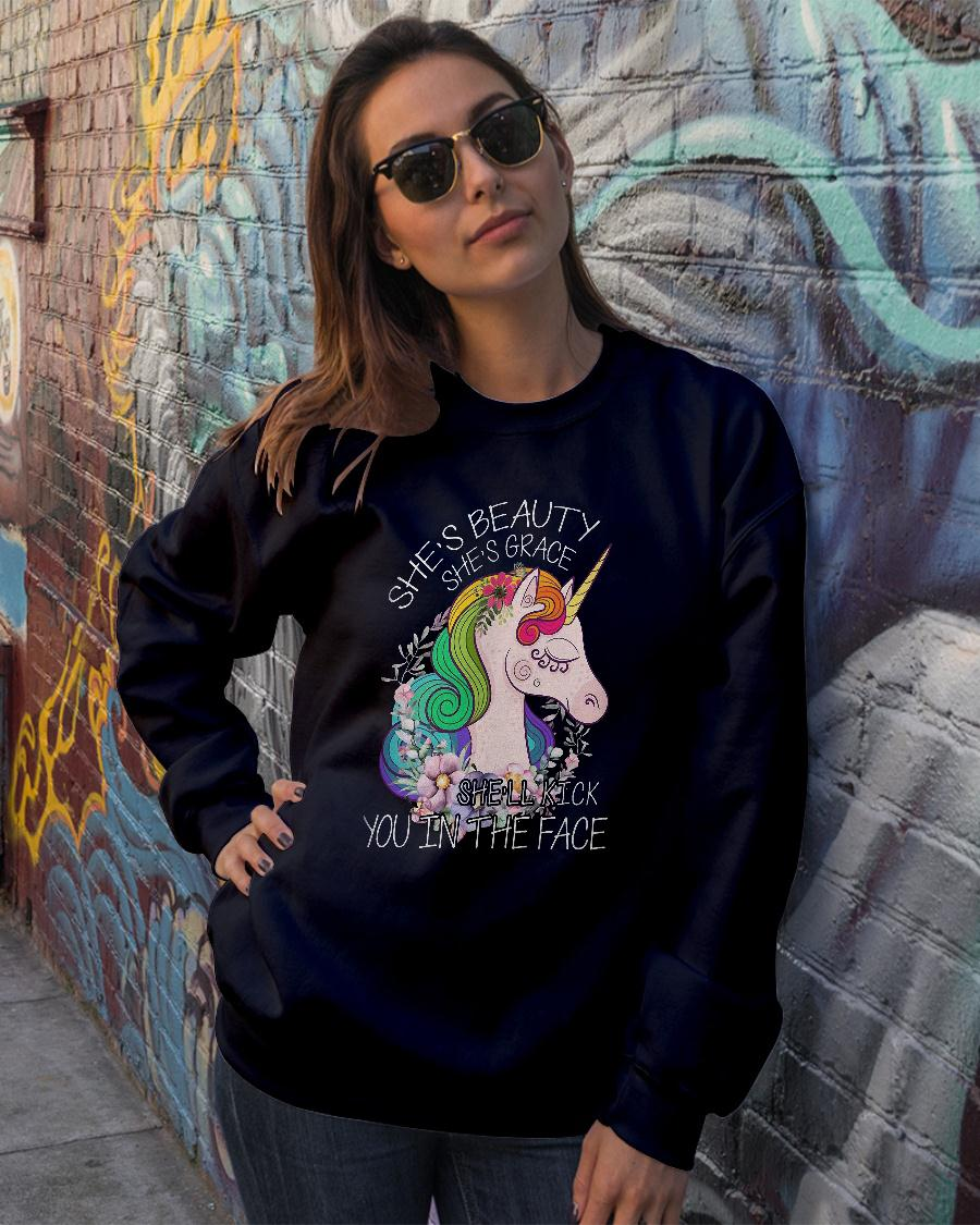 She's beauty she grace She'll kick you in the face shirt sweater official