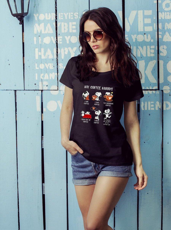 Snoopy My Coffee Moods I Like Coffee I Love Coffee Shirt ladies tee official