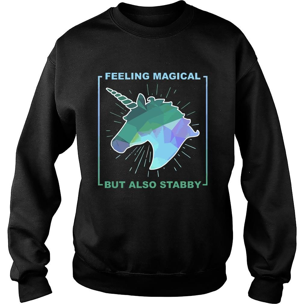 Unicorn feeling magical but also stabby shirt sweater