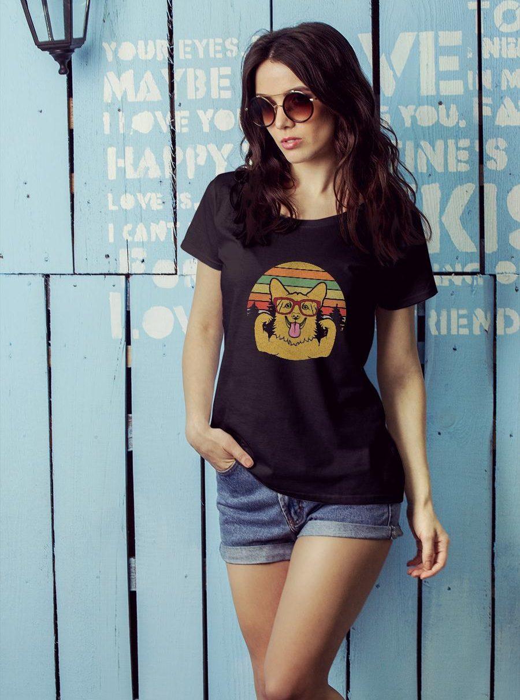 Vintage Retro Style Corgi T shirt ladies tee official