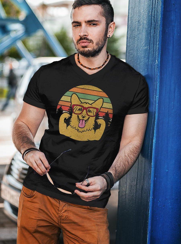 Vintage Retro Style Corgi T shirt unisex